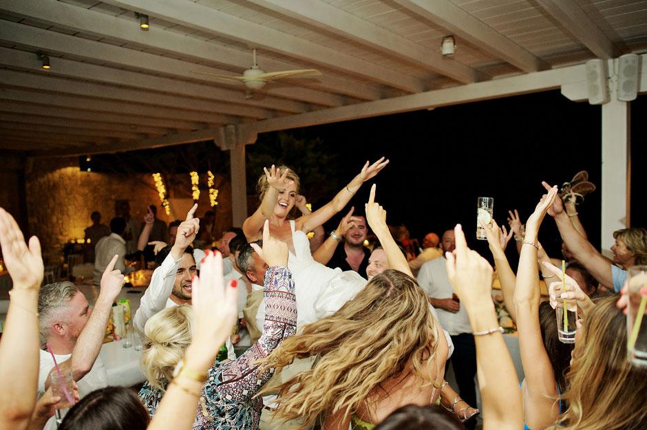 bride best dancing in mykonos wedding