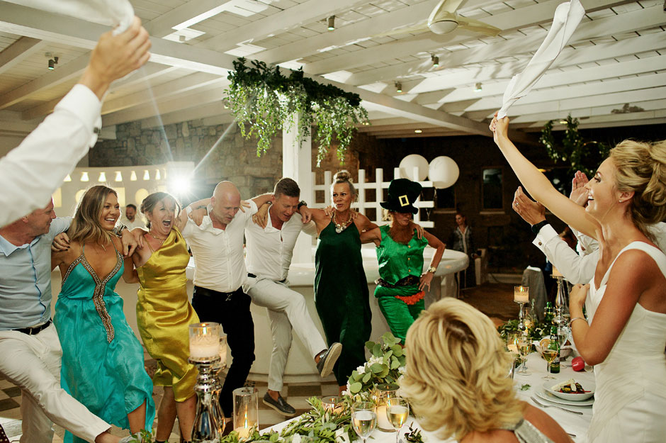 bride dancing in mykonos st John hotel