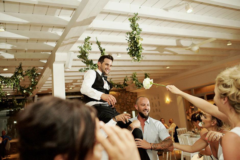 bride dancing with the groom in mykonos wedding