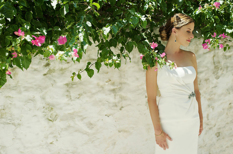 bride portrait in mykonos bougainvillea