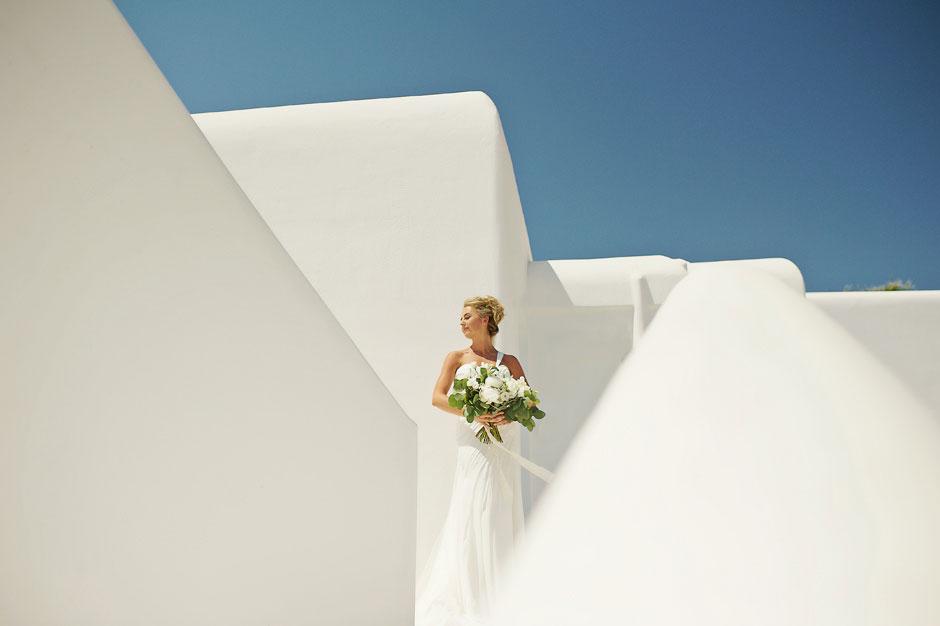 bride portrait in st John mykonos hotel