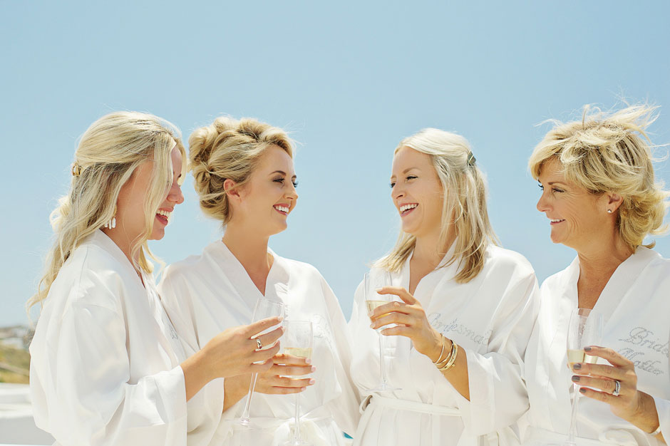 bridesmaids in st John mykonos hotel wedding