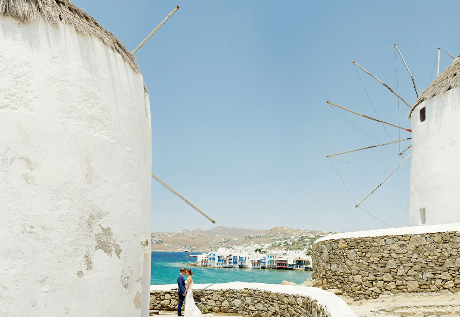elopement in greece mykonos town