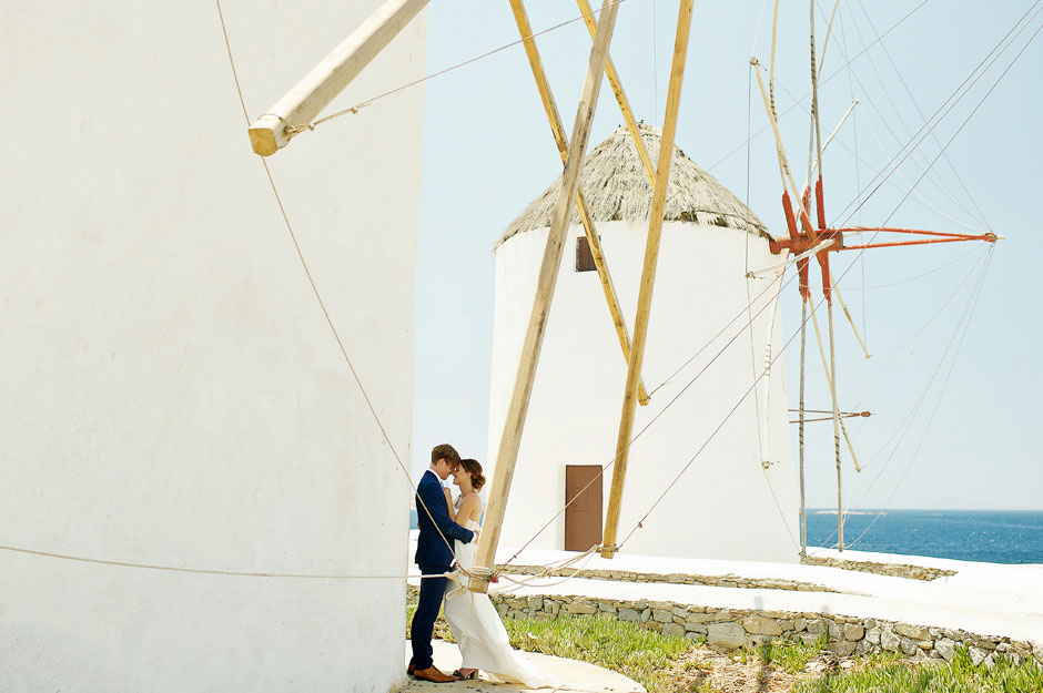 elopement in mykonos windmills
