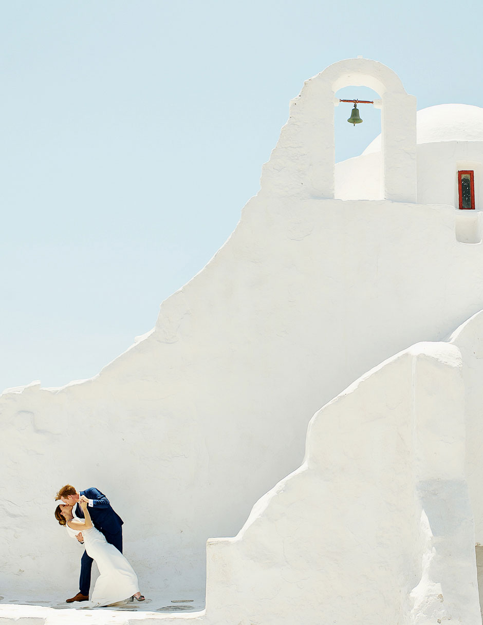 romantic wedding in paraportiani mykonos greece
