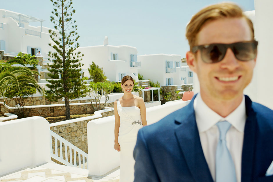 first look moments in mykonos elopement