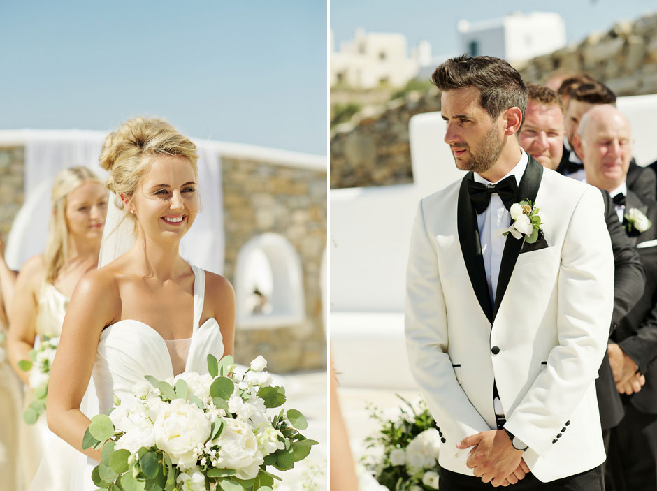 groom and bride vows in mykonos wedding ceremony