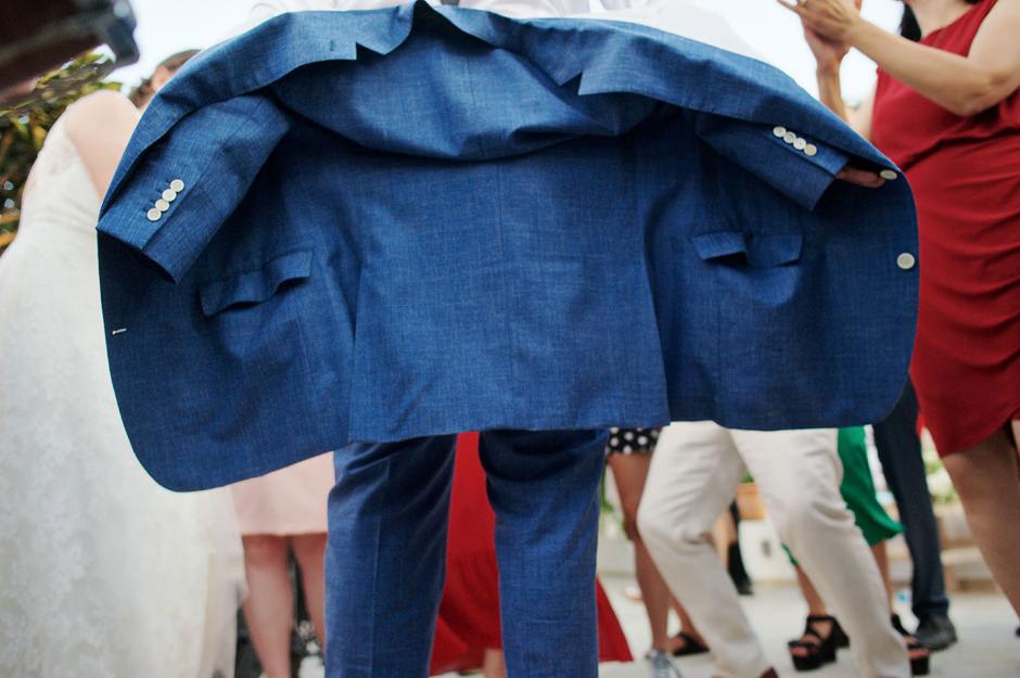 groom blue suit in naxos wedding