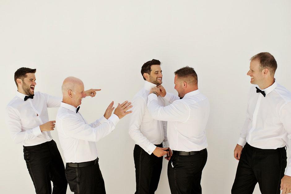 groom getting ready in mykonos wedding