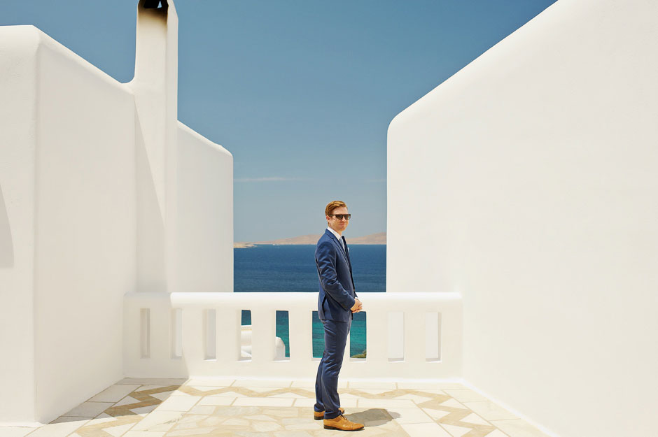 groom on his mykonos elopement day