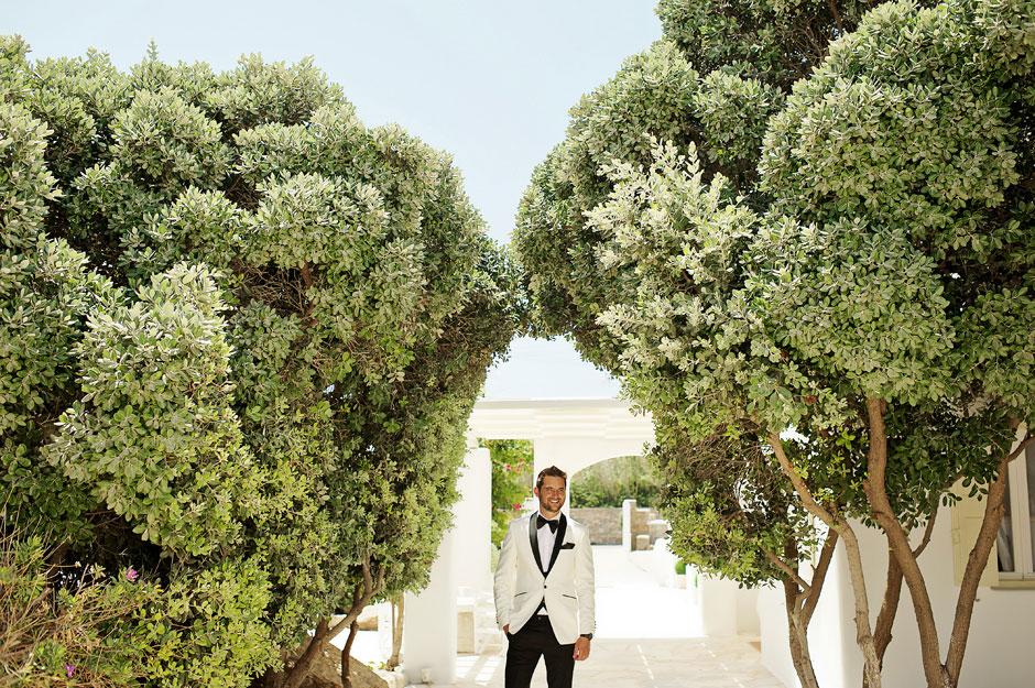 groom portrait n mykonos korfos hotel