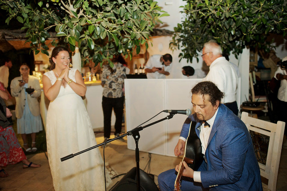 groom singing bride's favorite song in naxos wedding