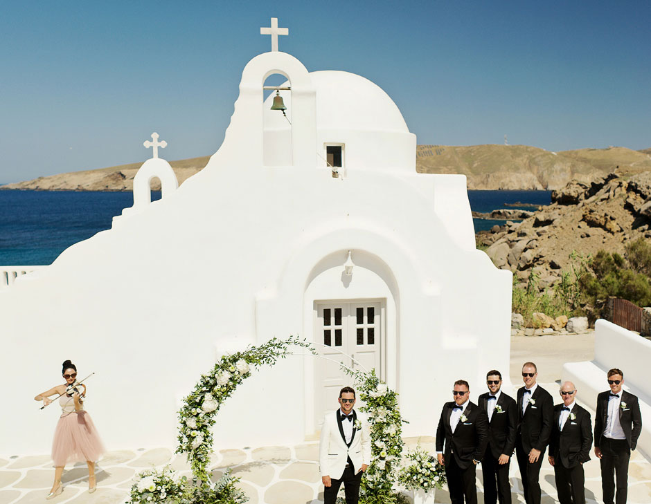 groom waiting for the bride in mykonos star wedding ceremony