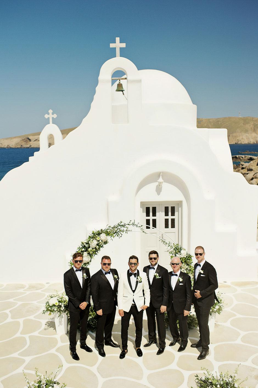 groom with groomsmen in st sostis mykonos star hotel