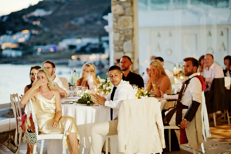 guest cry during the speeches in mykonos wedding