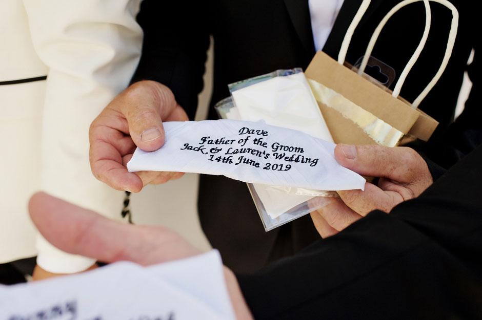 handkerchief gift from groom mykonos wedding