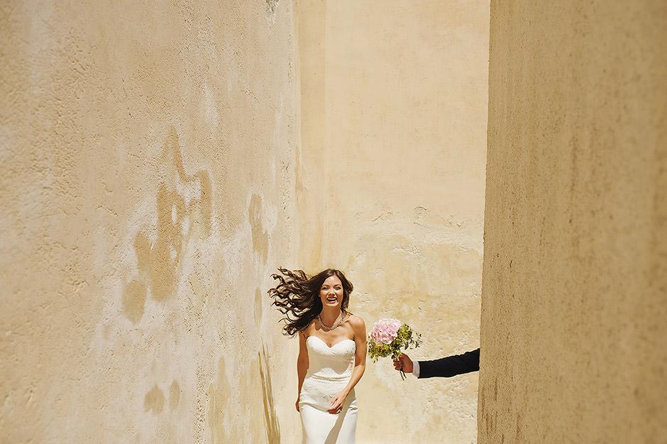 happy bride in santorini elopement