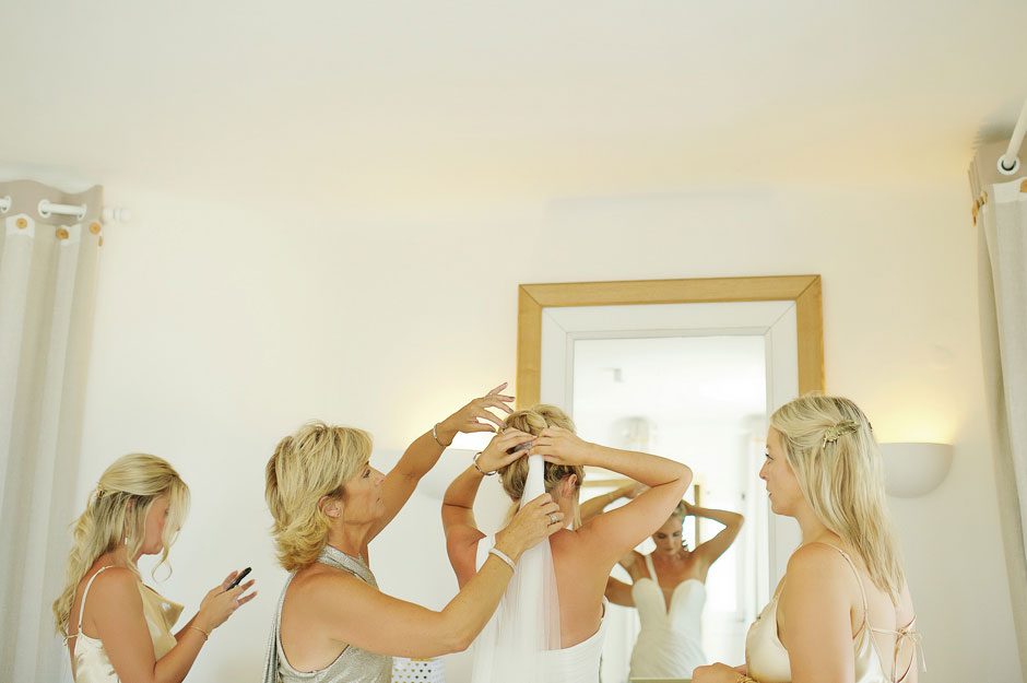 mother helps the bride at st John mykonos hotel