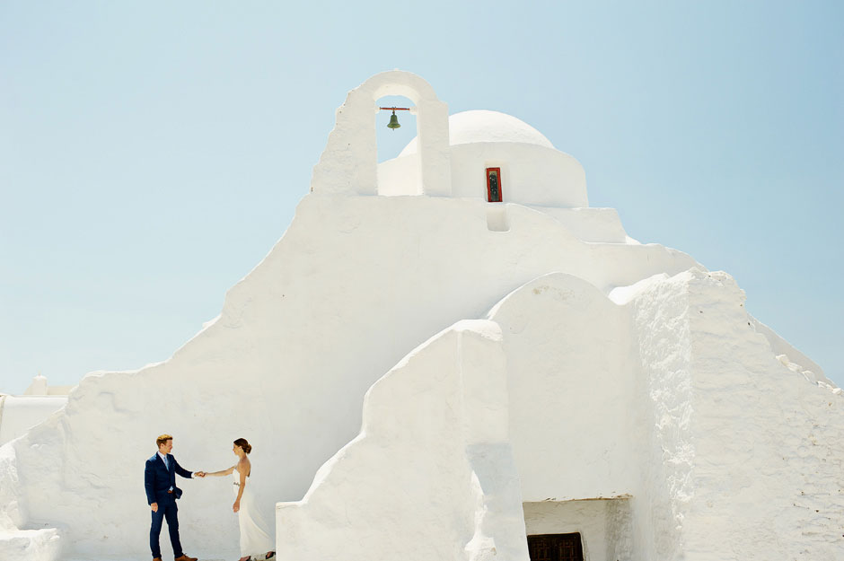 mykonos paraportiani elopement couple
