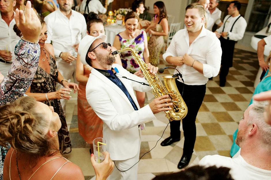 saxophone player in mykonos wedding