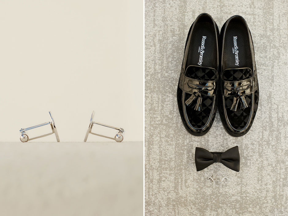 shoes and bow tie of the groom in cycladic wedding