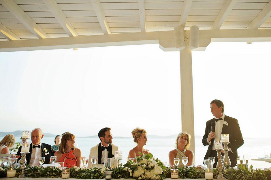 speech during the wedding reception in mykonos st John hotel