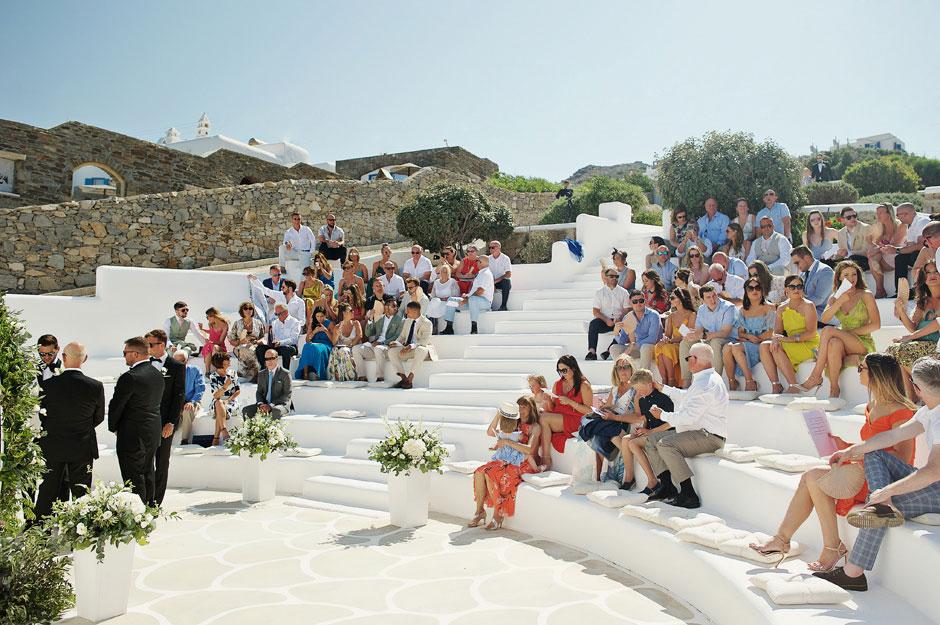 wedding ceremony in mykonos star hotel amphitheater