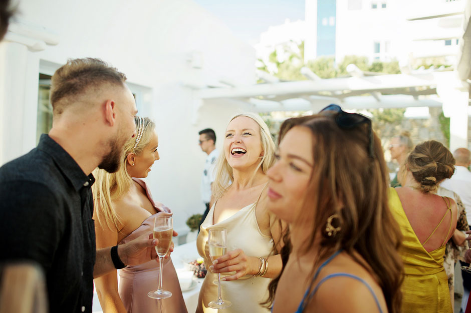 wedding coctail party in st John mykonos hotel