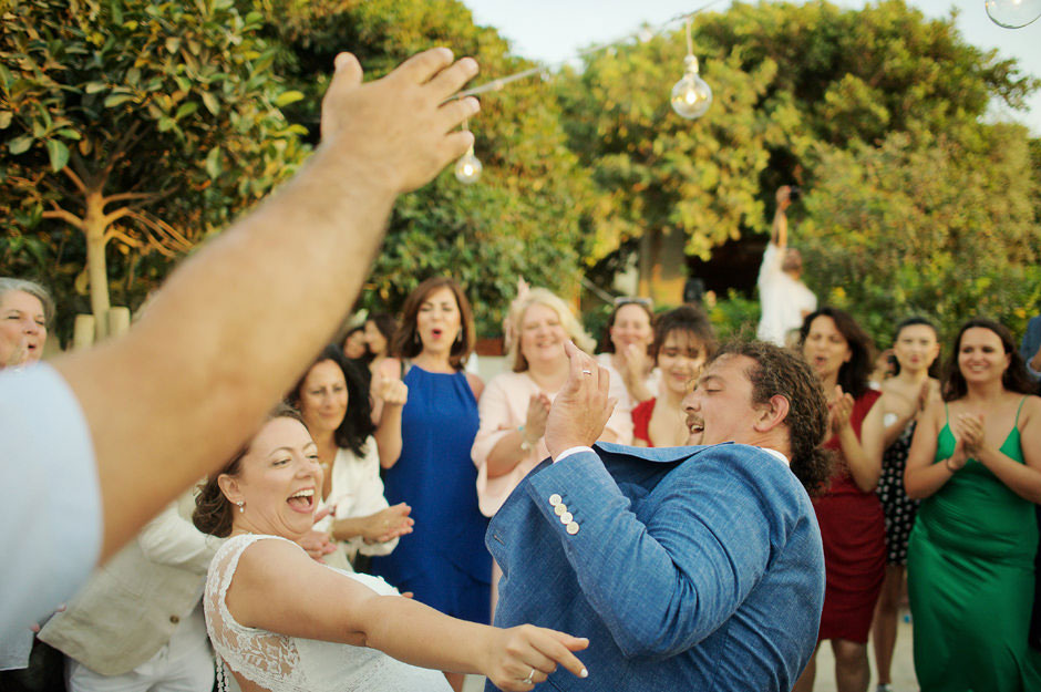 wedding couple are dancing in naxos