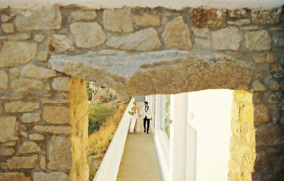 wedding couple entrance in mykonos st John hotel