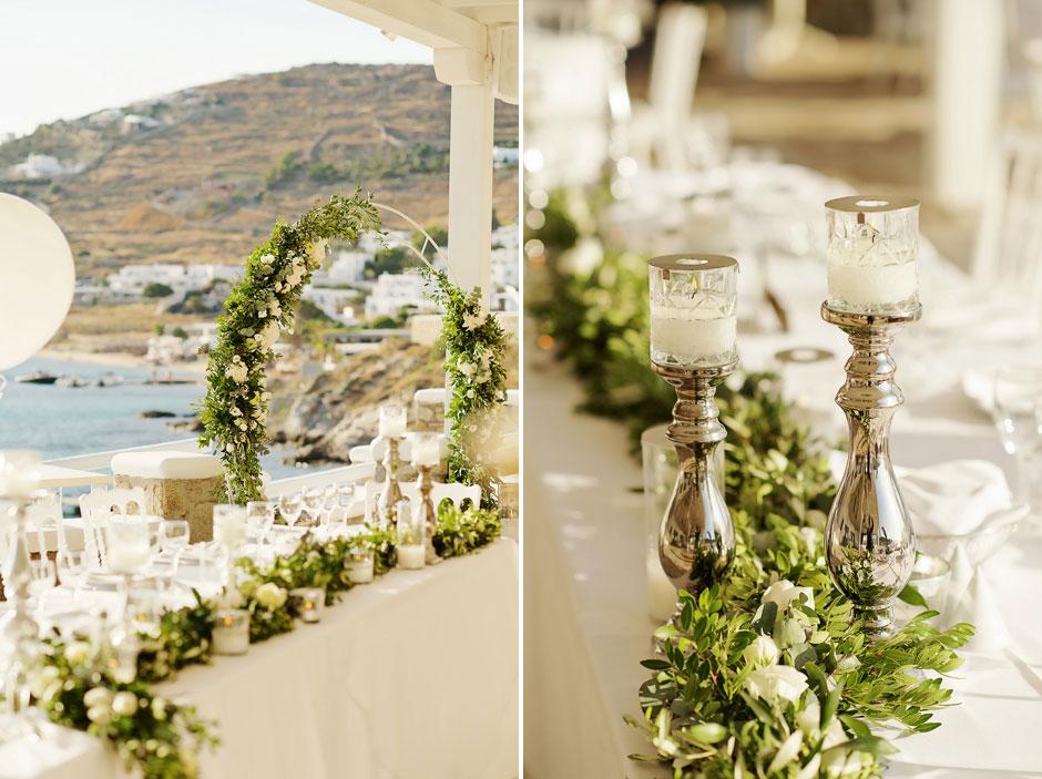 wedding decoration in mykonos st john