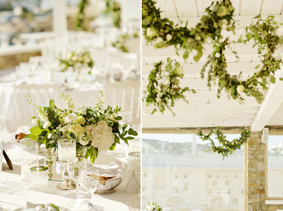 wedding flower decoration in mykonos st John hotel