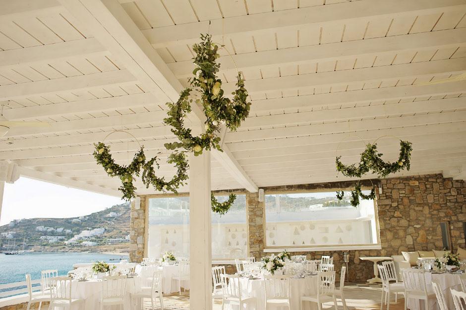 wedding flower hoops in mykonos