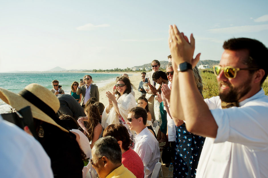 wedding guests on naxos beach
