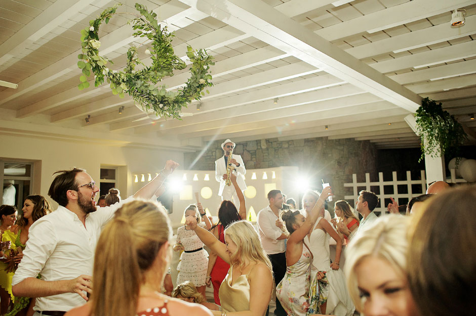 wedding in mykonos with a saxophone player