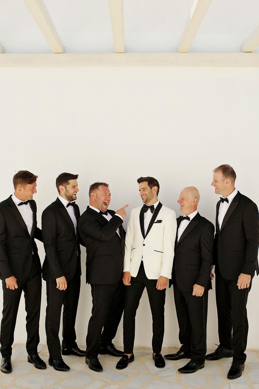 wedding in mykonos with groom and groomsmen