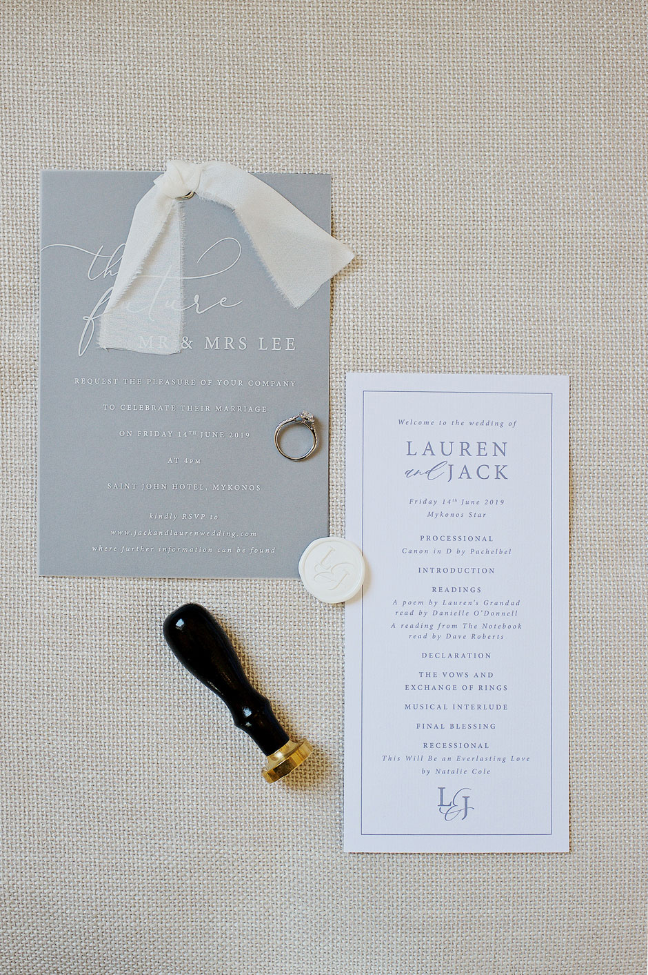 wedding invitations in mykonos
