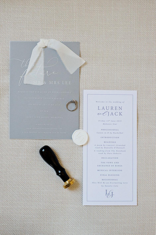 wedding invitations in mykonos