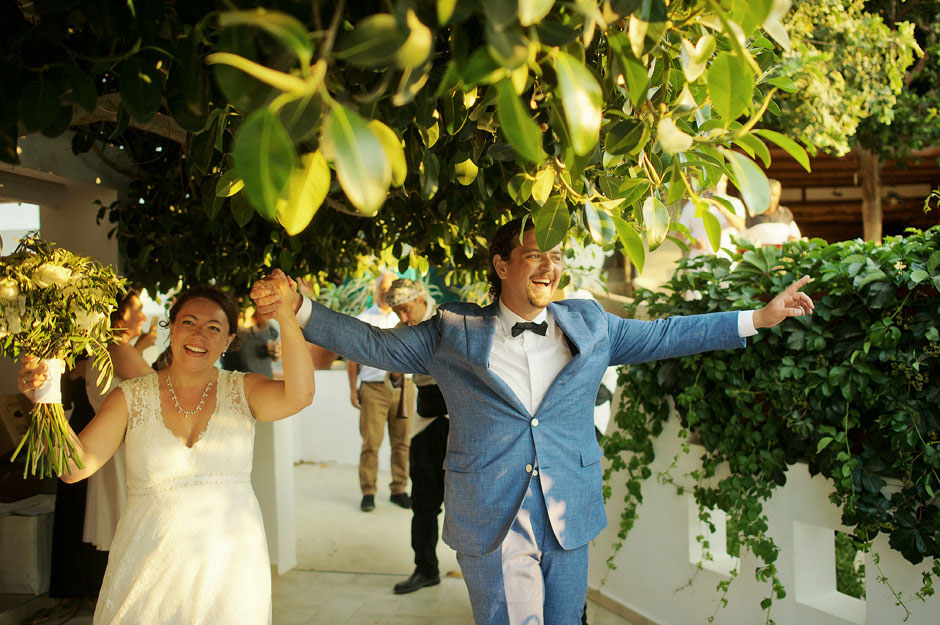 wedding party entrance in naxos