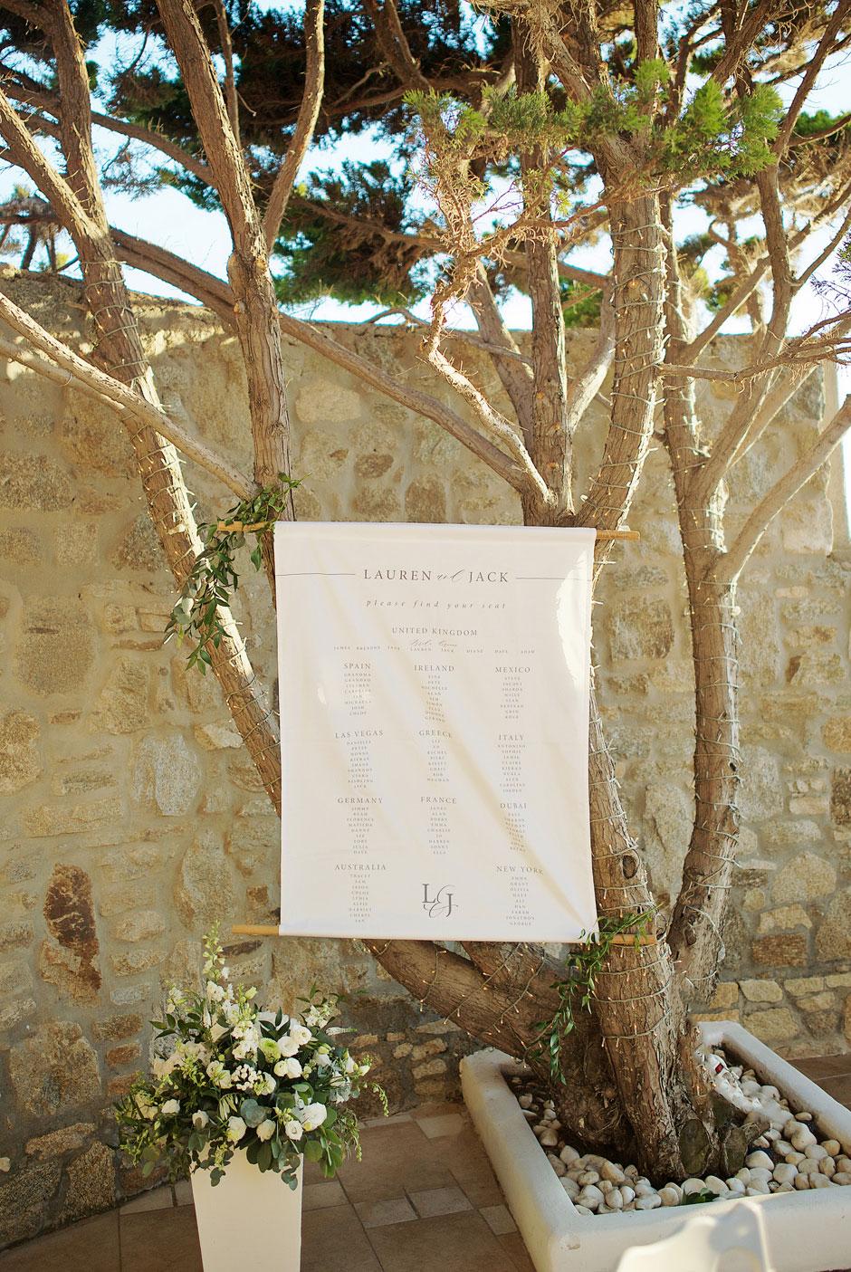 wedding seating plan in mykonos st John hotel