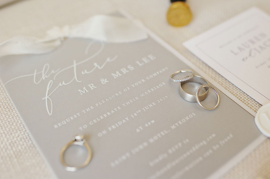 wedding strationery in mykonos