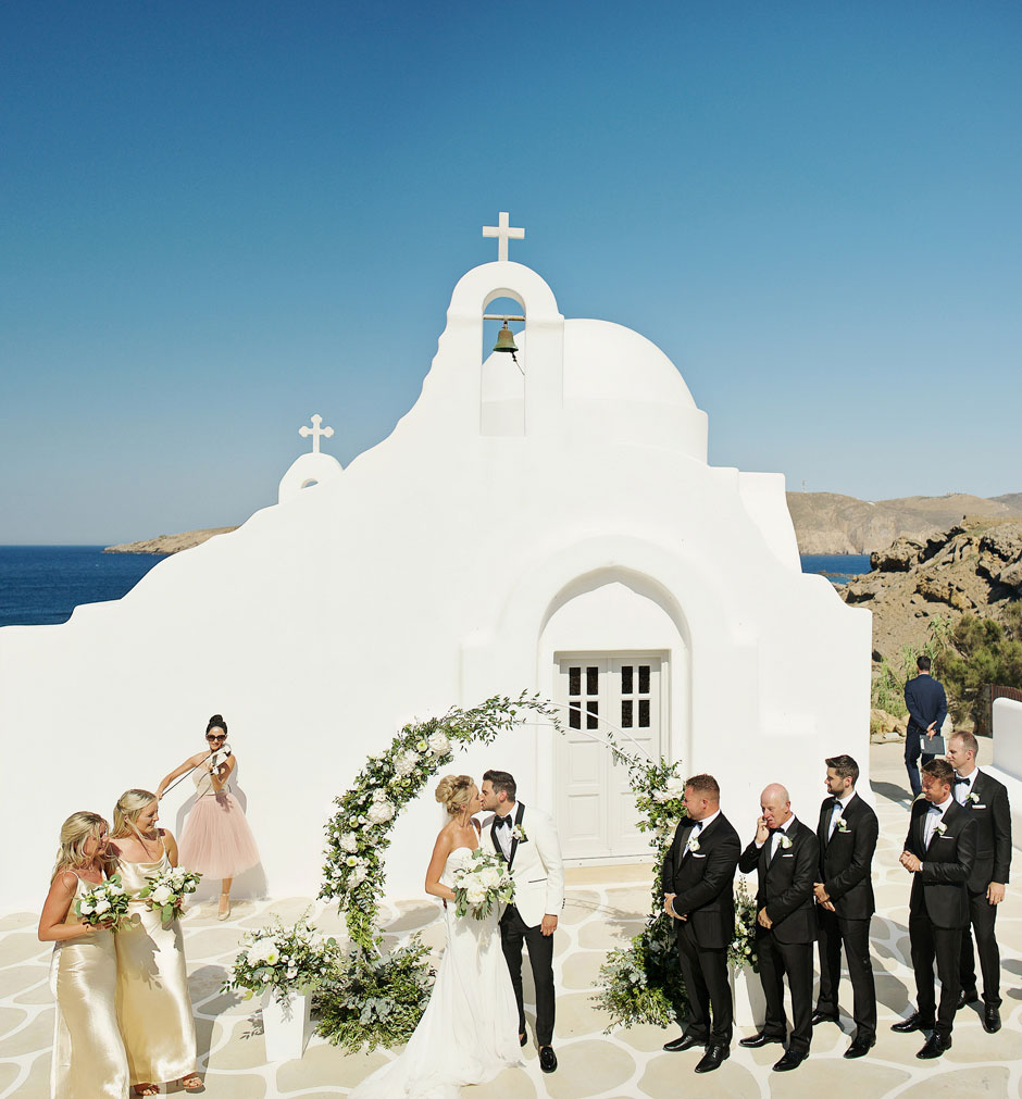 you may kiss the bride in mykonos wedding ceremony