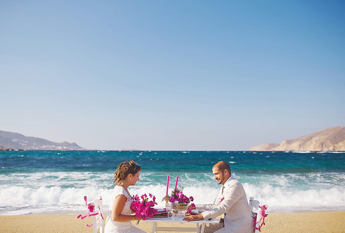 beach wedding in aegean sea